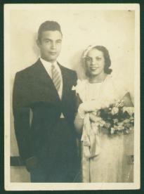 Boda de Porfirio Rubirosa con Flor de Oro Trujillo en 1932 . Casa Presidencial de San Jose de Las Matas, Republica Dominicana. AGN
