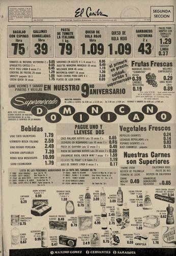 Los Especiales del Supermercado Dominicano. Santo Domingo, Republica Dominicana. Periodico El Caribe 4 de Dicembre de 1975. Fuente : AGN / El Caribe