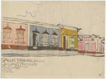 Dibujo del Arquitecto Richard Neutra, Santo Domingo, Rpublica Domincana Calle Padre Billini. 1945. Fuente: UCLA Library. Digital Collection. Imagen Colaboracion de Juan Pablo Ortiz el 11 de junio de 2013