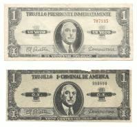 """LOS BILLETES DEL DESFILE DE LA CONCENTRACION DEL MILLON DE LA ERA DE TRUJILLO Y LOS DEL EXILIO 1960 La maquinaria propagandistica de la tirania Trujillista que goberno por 31 año la Republica Dominicana ,puso en circulación un billete de 1 peso ( Un Voto Por Trujillo ), con la imagen de del dictador Rafael Leonidas Trujillo , que fue utilizada en la concentracion del millon el 24 de octubre de 1960 , en la que se pedia la reeleccion de trujillo para las elecciones de 1962. En el anverso y el reverso del billete estaba impreso """"Un Voto por Trujillo / Trujillo Presidente Inmediatamente"""" El Exilio Domincano en Puerto Rico con el Partido Revolucionario Dominicano, se las ingeniaron para imprimir un billete similar pero que rezaba """"Un Voto Contra Trujillo / Trujillo 1er. Criminal de América"""". Segun testimonio de el señor Octavio Amiama EPD,al Historiador Miguel Estrella , le comento que esta propaganda adversa a la dictadura fue lanzada sobre la Ciudad de Santo Domingo (Ciudad Trujillo en ese momento) por una avioneta que vino desde Puerto Rico en horas de la madrugada y ya a las 8:00 A.M. habían sido recogidos por los organismos de seguridad del Estado. Ambas fotografias nos fueron facilitadas por el Sr. José Manuel Henríquez, Presidente de la Sociedad Numismática Dominicana y son parte de su coleccion. Colaboracion de Miguel Estrella Para Imagenes de Nuestra Historia"""