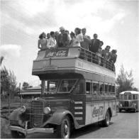Guagua de Dos Pisos, rumbo al Hipodromo Perla Antillana Ciudad Trujillo , Republica Dominicana * Tarifa de control a control 5 centavos 1940 Fuente : AGN / Conrado