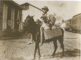 Vendedor de Leche. Republica Dominicana Region del Cibao Principios del siglo 20 A la Derecha el ferrocarril del Cibao Fuente : AGN