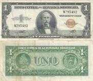 Billete de Un Peso Oro. República Dominicana. Emisión 1947 Banco Central de R.D. Fuente : Externa
