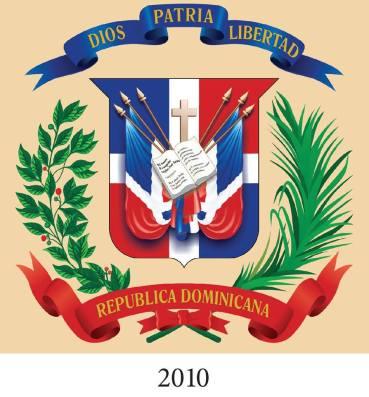 """ESCUDO NACIONAL DE LA REPUBLICA DOMINICANA. 2010 REFORMA CONSTITUCIONAL 2010 Artí culo 32 El Escudo Nacional tiene los mismo colores de la Bandera Nacional dispuestos en igual forma. Lleva en el centro la Biblia abierta en el Evangelio de San Juan, capitulo 8, versículo 32, y encima una cruz, los cuales surgen de un trofeo integrado por dos lanzas y cuatros banderas Nacionales sin escudo, dispuestas a ambos lados; lleva un ramo de laurel del lado izquierdo y uno de palma al lado derecho. Está coronado por una cinta azul ultramar en la cual se lee el lema """"Dios, Patria y Libertad"""". En la base hay otra cinta de color rojo bermellón cuyos extremos se orientan hacia arriba con las palabras """"República Dominicana"""". La forma del Escudo Nacional es de un cuadrilongo, con los ángulos superiores salientes y los inferiores redondeados, el centro de cuya base termina en punta, y está dispuesto en forma tal que resulte un cuadrado perfecto al trazar una línea horizontal que una las dos verticales del cuadrilongo desde donde comienza los ángulos inferiores. * El Escudo Nacional tiene sus orígenes en los momentos en que se libraban las primeras batallas que forjaron nuestra independencia de la República de Haití el 27 de febrero de 1844. Al referirse a él, la Constitución suscrita en San Cristóbal el 6 de noviembre de ese año, dice en su Artículo 195: """"Las armas de la República Dominicana son: una Cruz, a cuyo pie está abierto el Libro de los Evangelios, y ambos sobresalen de entre un trofeo de armas, en que se ve el emblema de la libertad, enlazado con una cinta en que va la siguiente divisa: Dios, Patria y Libertad, República Dominicana"""". Fuente :ESCUDO NACIONAL DE LA REPÚBLICA DOMINICANA CENTENARIO DE LA REGULACIÓN DEL DISEÑO DEL ESCUDO NACIONAL 1913 - 2013 MIGUEL ESTRELLA GÓMEZ"""